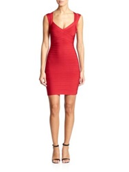 Herve Leger Cap Sleeve Bandage Dress Lipstick Red