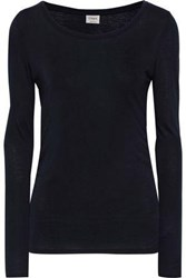 Charli Woman Manuela Ruched Jersey Top Navy