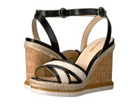 Nine West Vaughn Black Off White Leather Women's Wedge Shoes