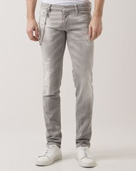Dsquared Light Grey Slim Fit Destroy Jeans With Chain