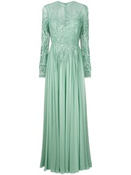 Elie Saab Long Sleeve Embroidered Dress Green