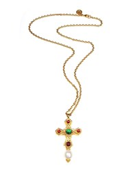 Ben Amun Cross Pendant Necklace W Glass Stones Gold