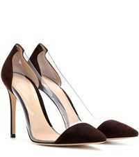 Gianvito Rossi Plexi Suede And Plastic Pumps Brown