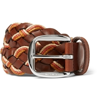 Etro 3.5Cm Leather And Elasticated Woven Belt Brown