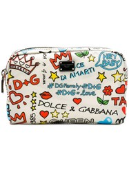 Dolce And Gabbana Mural Print Make Up Bag White