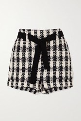 Maje Belted Houndstooth Cotton Blend Tweed Shorts Black