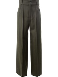 Chloe High Waisted Tailored Trousers Women Silk Cotton Acetate Virgin Wool 38 Green