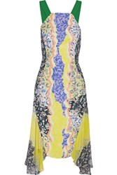 Peter Pilotto Glider Asymmetric Printed Chiffon Midi Dress Yellow
