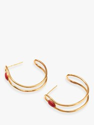J.Crew Nectar Nectar 18Ct Gold Plated Gemstone Semi Hoop Earrings Gold Coral