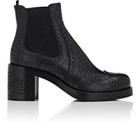 Miu Miu Women's Perforated Leather Wingtip Chelsea Boots Black