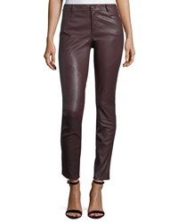 Lafayette 148 New York Mercer Mid Rise Leather Skinny Jeans Beet