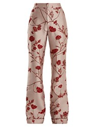 Johanna Ortiz Jancita High Rise Flared Brocade Trousers Pink Red