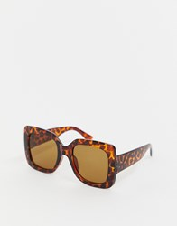 7X Svnx Oversized Square Frame Sunglasses In Tort Brown