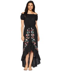 Scully Sophia Off The Shoulder Beautifully Embroidered Dress Black