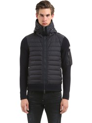 Moncler Hooded Nylon And Wool Knit Down Jacket