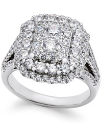 Macy's Diamond Cluster Engagement Ring 1 3 4 Ct. T.W. In 14K White Gold