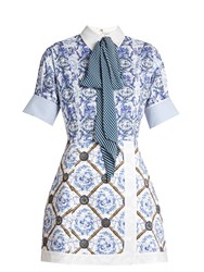Mary Katrantzou Hayden Toile De Jouy Print Poplin Dress Blue Multi