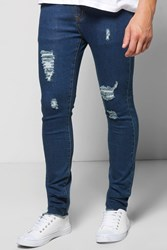 Boohoo Fit Raw Cuff Ripped Jeans Indigo