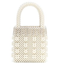 Shrimps Huckleberry Embellished Beaded Tote White