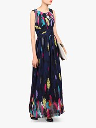 Jolie Moi Feather Belted Maxi Dress Navy Multi