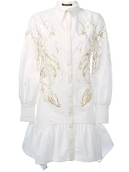 Roberto Cavalli Feather Print Shirt Dress White