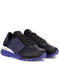 Y 3 Rhita Sport Leather And Fabric Sneakers Blue