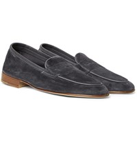 Edward Green Polperro Nubuck Trimmed Suede Penny Loafers Gray