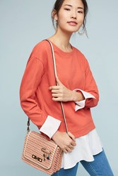 Anthropologie Layered Poplin Sweatshirt Orange