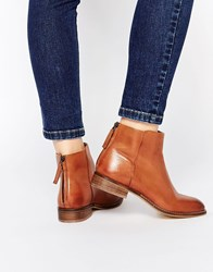 Dune Philbert Clean Leather Zip Back Ankle Boots Tan