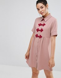 Sister Jane Short Sleeve Shirt Dress With Crochet Fastenings Pink