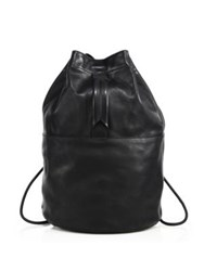 Rag And Bone Walker Leather Drawstring Backpack Black