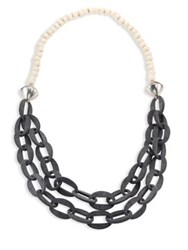 Nest Horn And Bone Beaded Double Strand Link Necklace Grey Horn