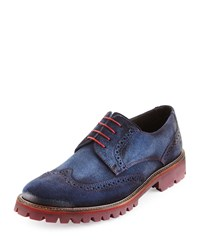 Donald J Pliner Eric Suede Lace Up Oxford Navy