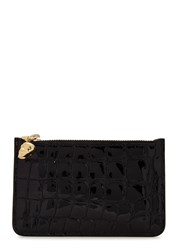 Alexander Mcqueen Crocodile Effect Patent Leather Coin Purse Black