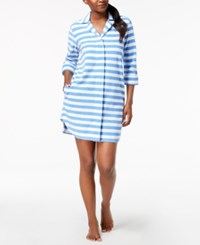 Charter Club Snap Front Terry Robe Created For Macy's Bar Stripe Blue