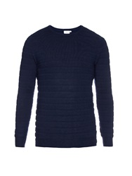 Sunspel Textured Stripe Merino Wool Knit Sweater