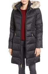 Ellen Tracy Women's Faux Fur Trim Matte Satin Down Coat