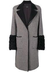 Pinko Patchwork Wool Coat Black