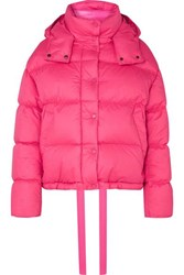 Moncler Hooded Quilted Cotton Down Jacket Pink