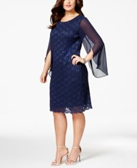 Connected Plus Size Angel Sleeve Sequin Dress