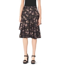 Michael Kors Elderflower Print Tiered Ruffle Silk Twill Skirt Black Oleander