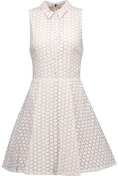 Alice Olivia Elly Printed Chiffon Mini Dress Beige