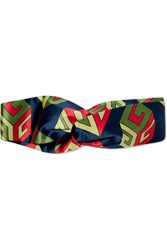 Gucci Printed Silk Satin Headband Navy