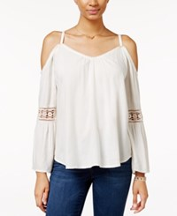 Roxy Juniors' Island Joy Cold Shoulder Peasant Top White