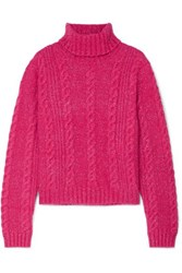 Versace Cropped Metallic Cable Knit Turtleneck Sweater Pink