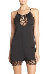 Women's Band Of Gypsies Lace Trim Satin Romper