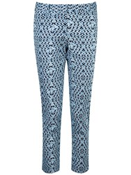 Pure Collection Heather Capri Trousers Blue Geo Print