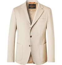 Tod's Beige Slim Fit Solaro Cotton Blend Suit Jacket Beige