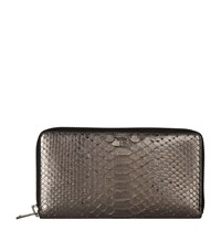 Tom Ford Python Zip Around Wallet Silver