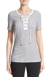 St. John Women's Collection Mesh Stripe Jersey Lace Up Tee
